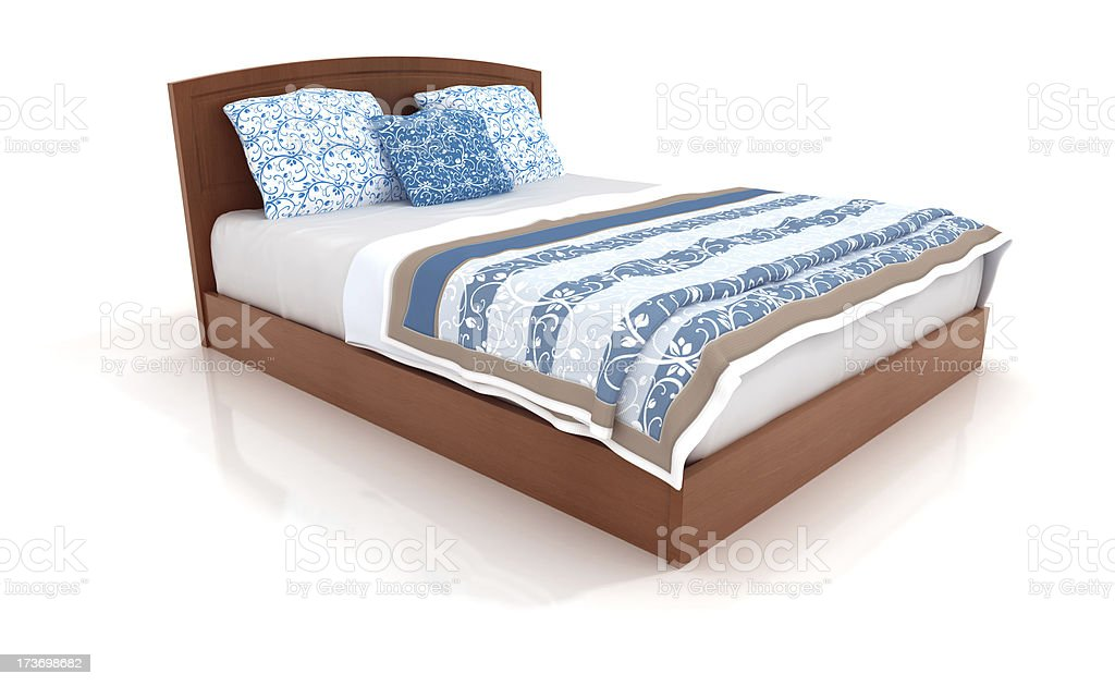 bed isolated on white 3 stock photo