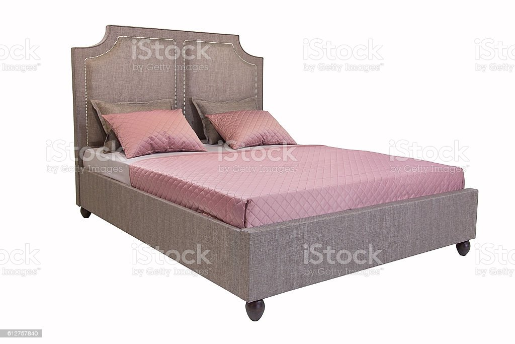 Bed isolated on white stock photo