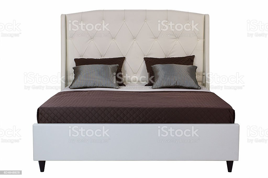 Bed isolated on white. stock photo