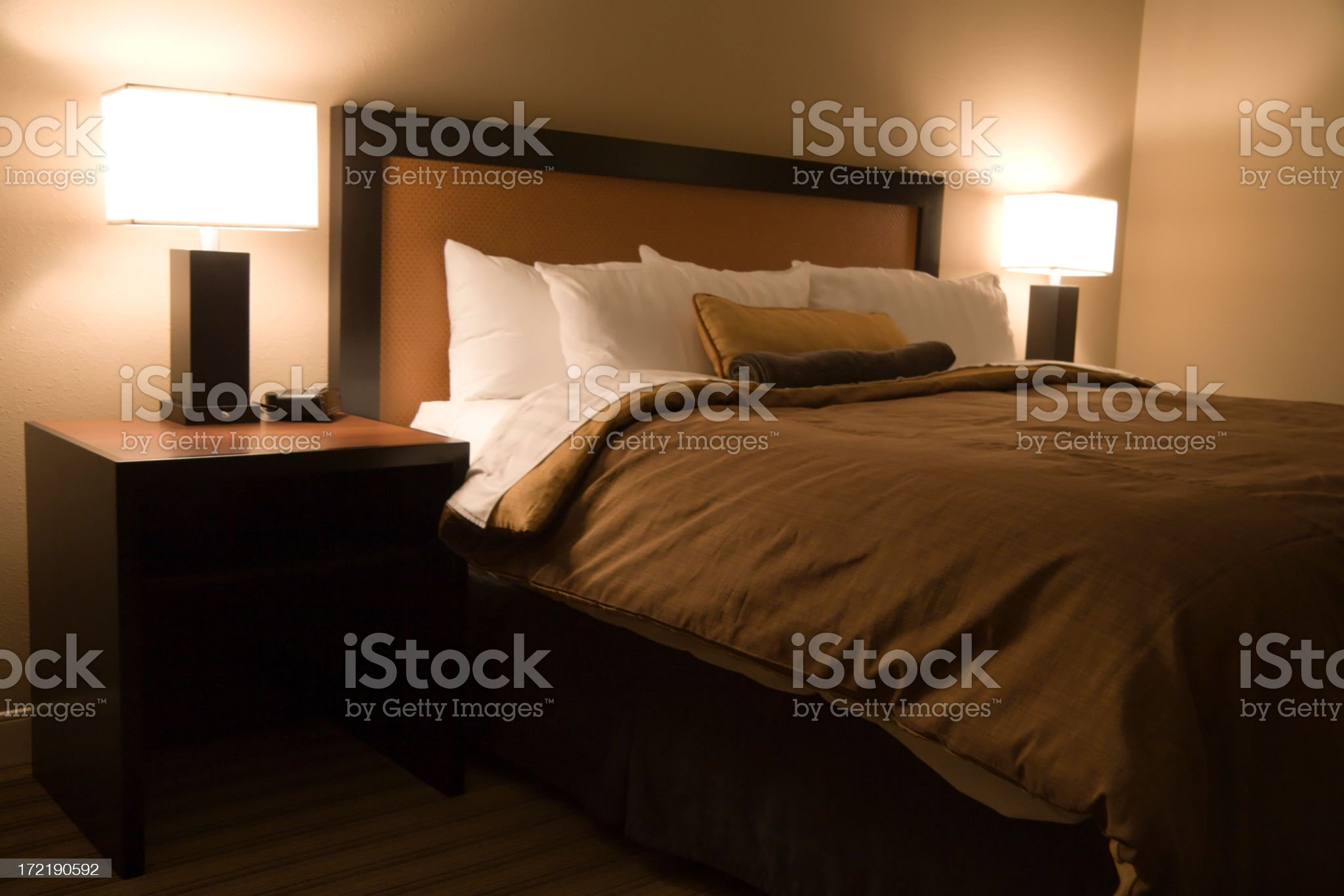 bed of a modern hotel royalty-free stock photo