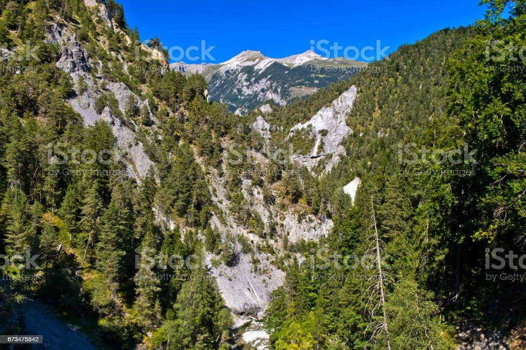 Bed of the Rabiusa river in the Versam Gorge, Switzerland stock photo