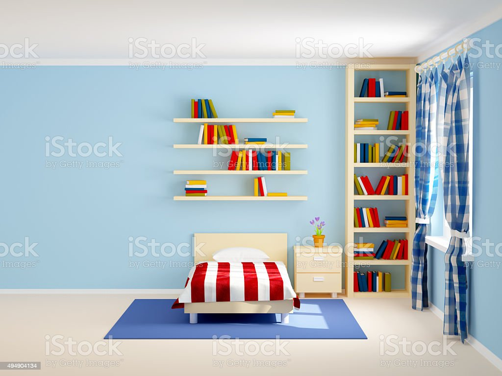 bed room striped and books stock photo