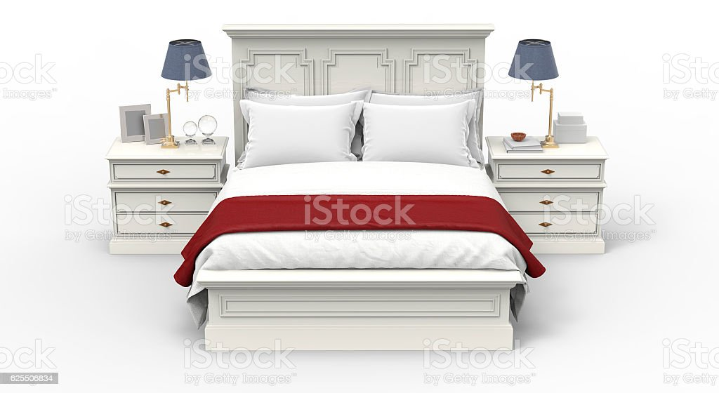 bed with blanket and pillow isolated on white stock photo