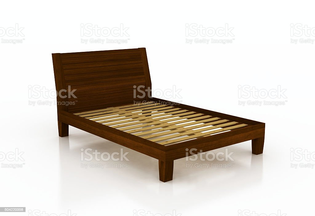 Bed with no mattress stock photo