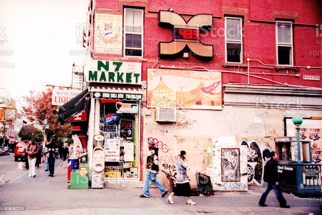Bedford Avenue shot by film. stock photo