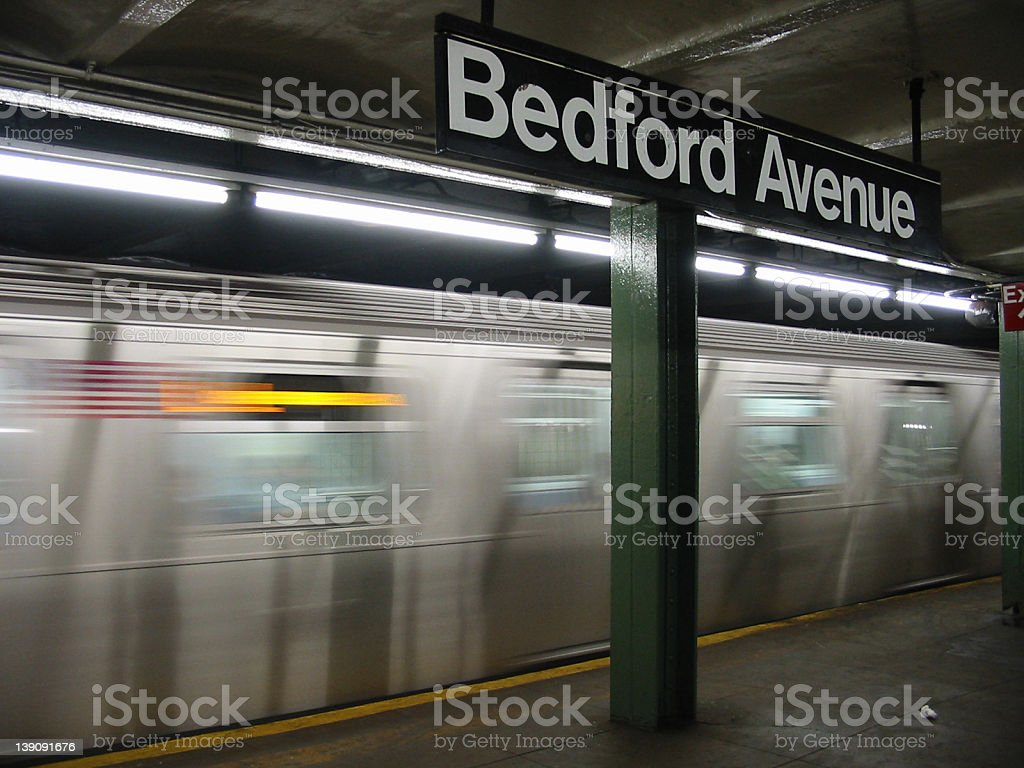 Bedford Avenue Train Station stock photo