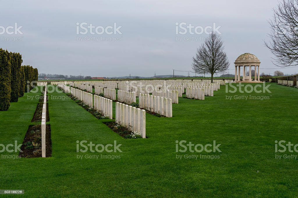 Bedford House WW1 Cemetery, Ypres stock photo