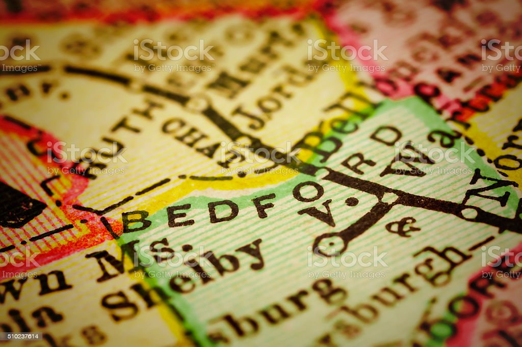 Bedford | Tennessee County maps stock photo