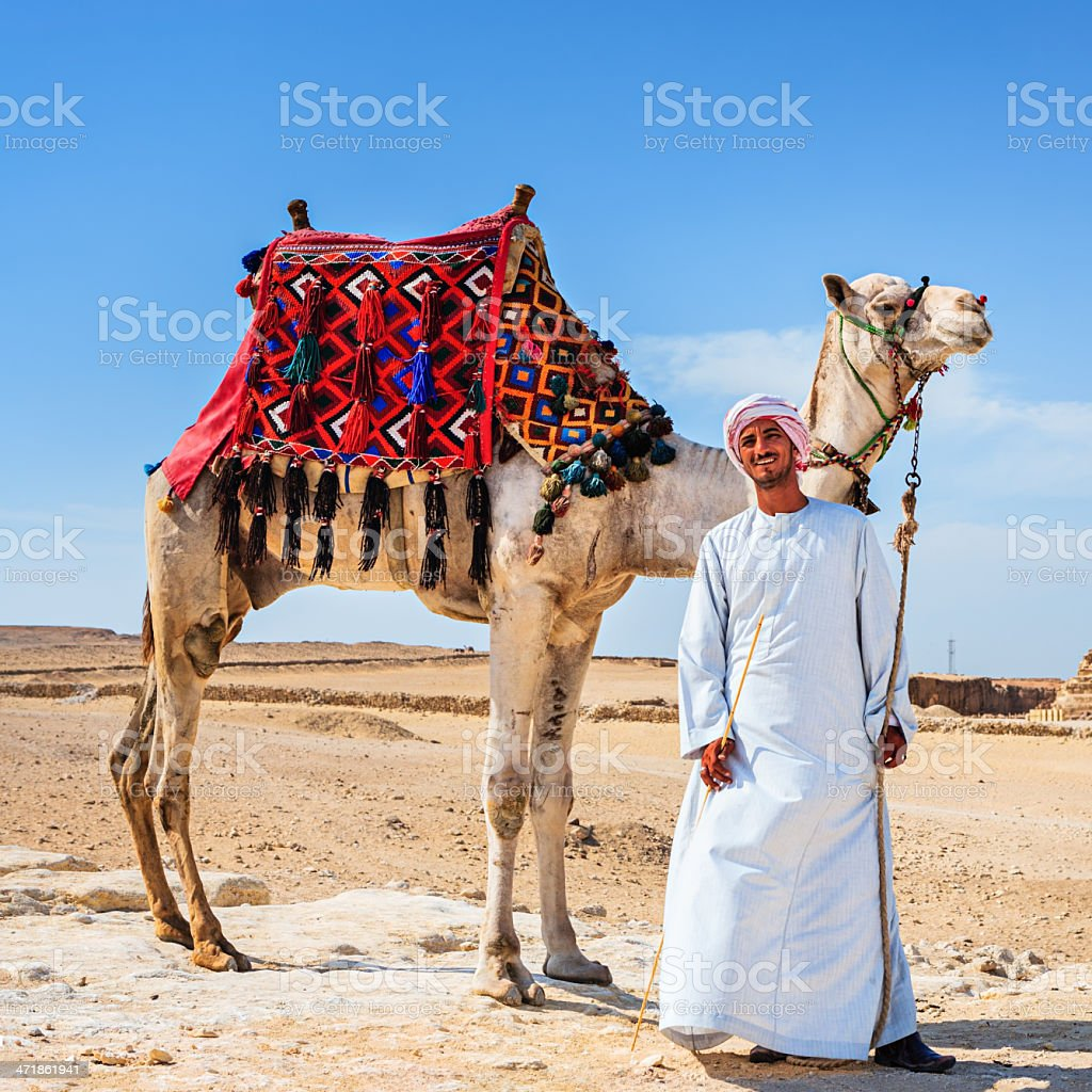 Bedouin and the pyramid royalty-free stock photo