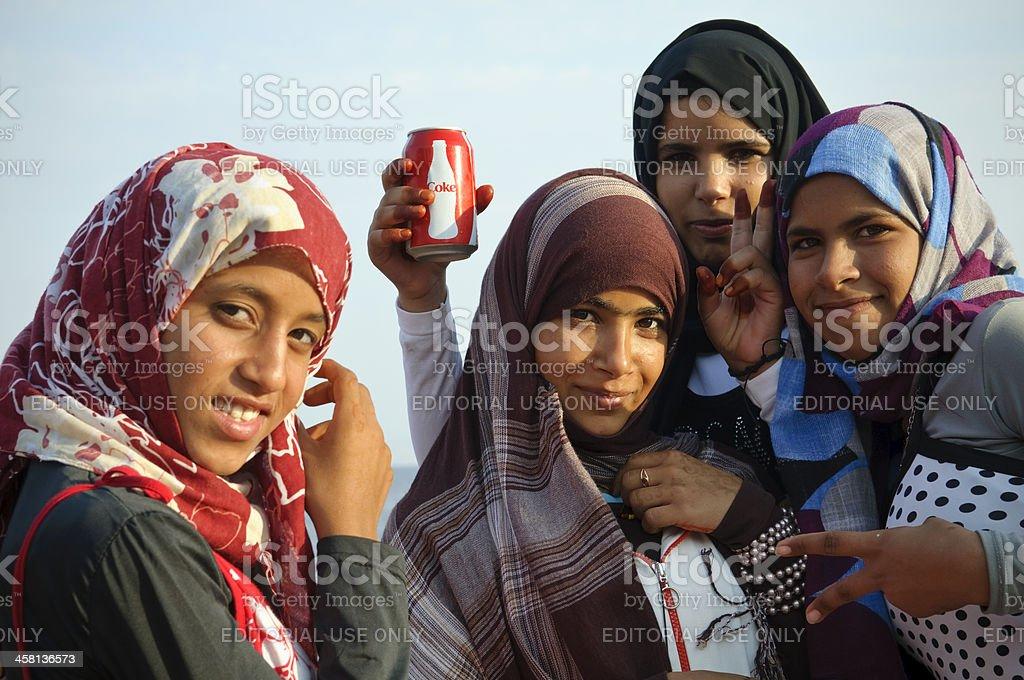 Bedouin girls in Dahab, Egypt royalty-free stock photo