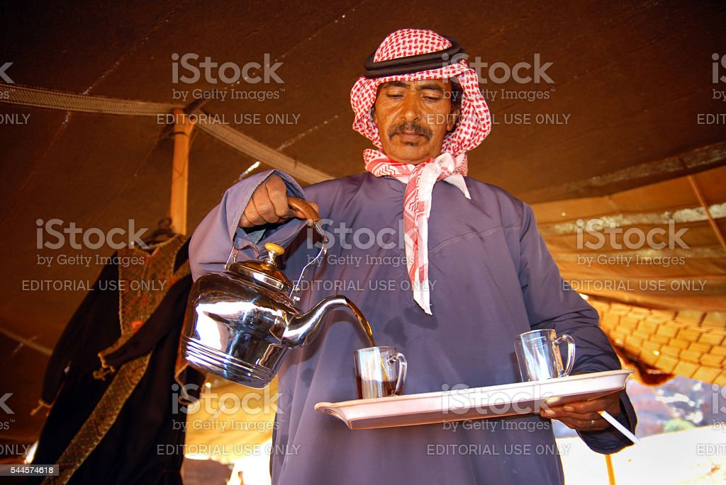Bedouin hospitality stock photo