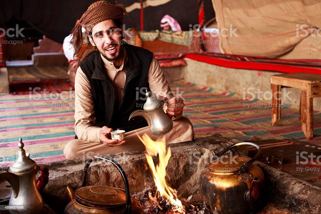 Bedouin man in Wadi Rum tent stock photo