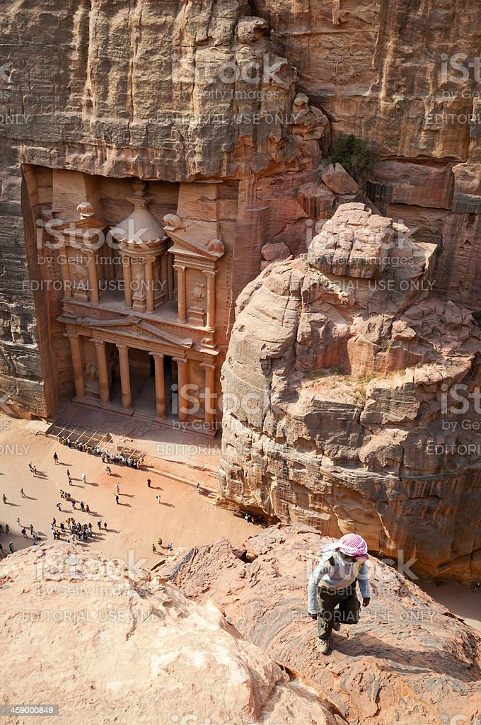 High angle view of the Treasury in Petra royalty-free stock photo