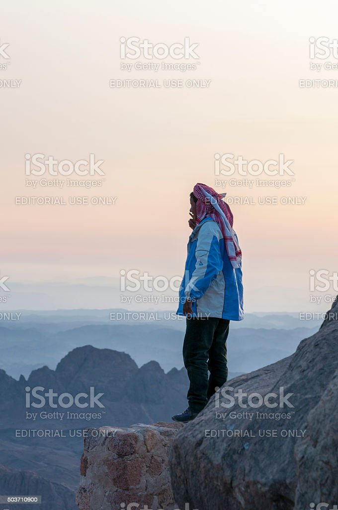 Bedouin on Mount Sinai stock photo
