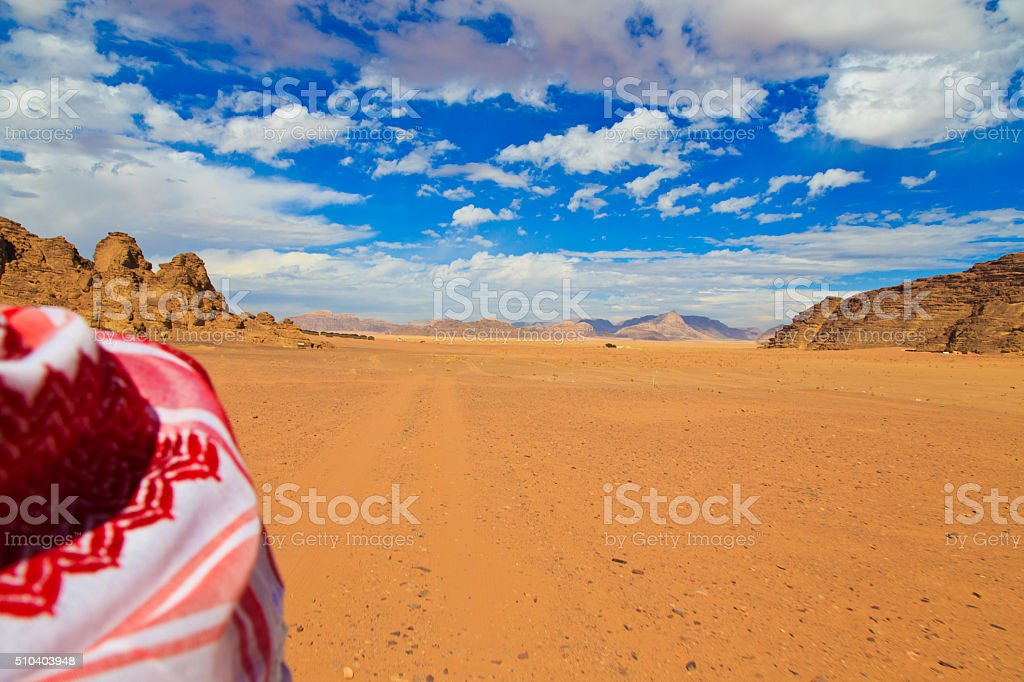 Bedouin scarf in Wadi Rum desert stock photo