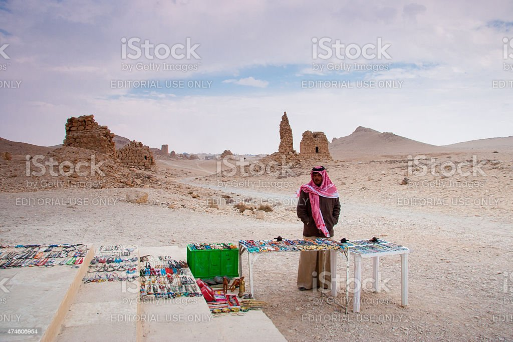 Bedouin selling handcrafts in the  ancient city of Palmyra, Syria stock photo