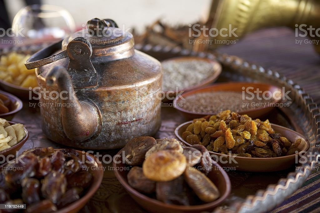 Bedouin Tea, Nuts and Dried Fruit royalty-free stock photo