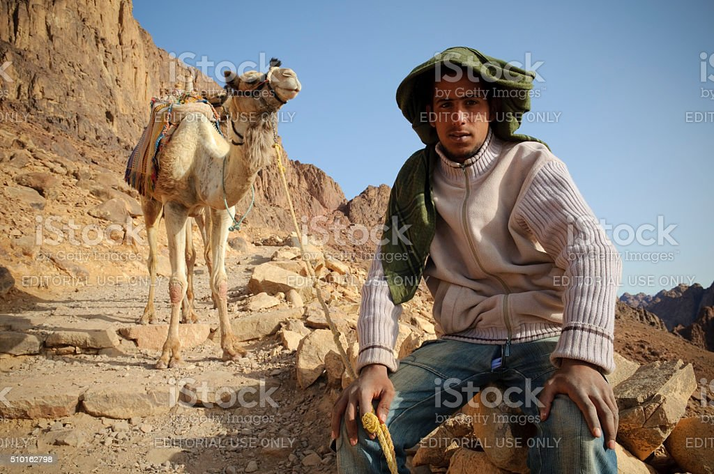 Bedouin teenager with camel on Mount Sinai stock photo