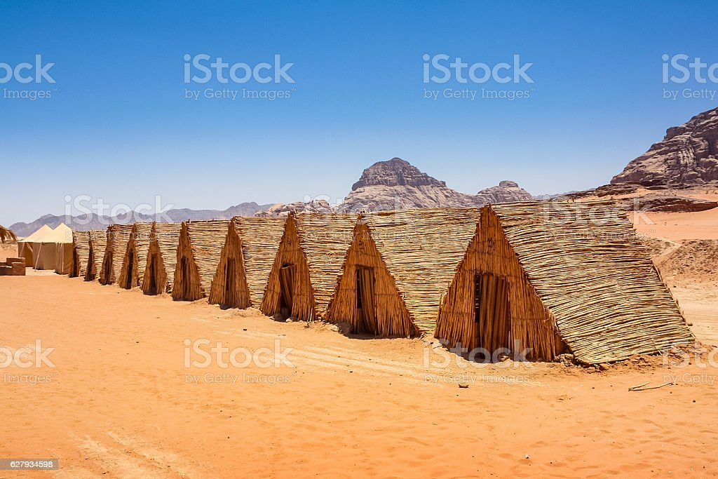 Bedouin Tent Camp in Wadi Rum Desert Jordan stock photo