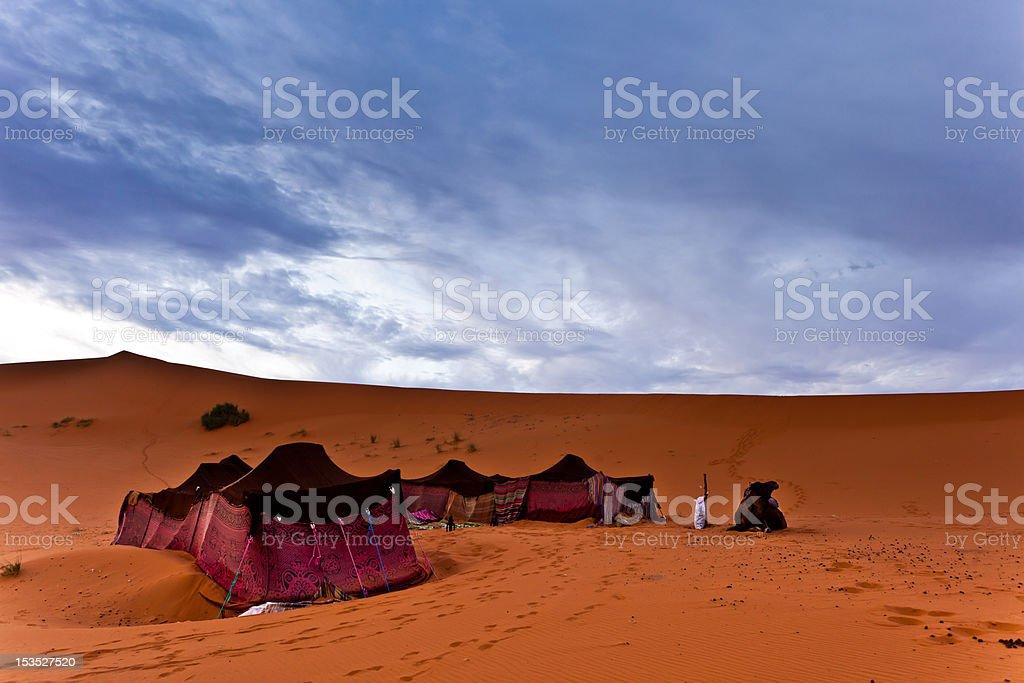 Bedouin tents in the Sahara Desert stock photo