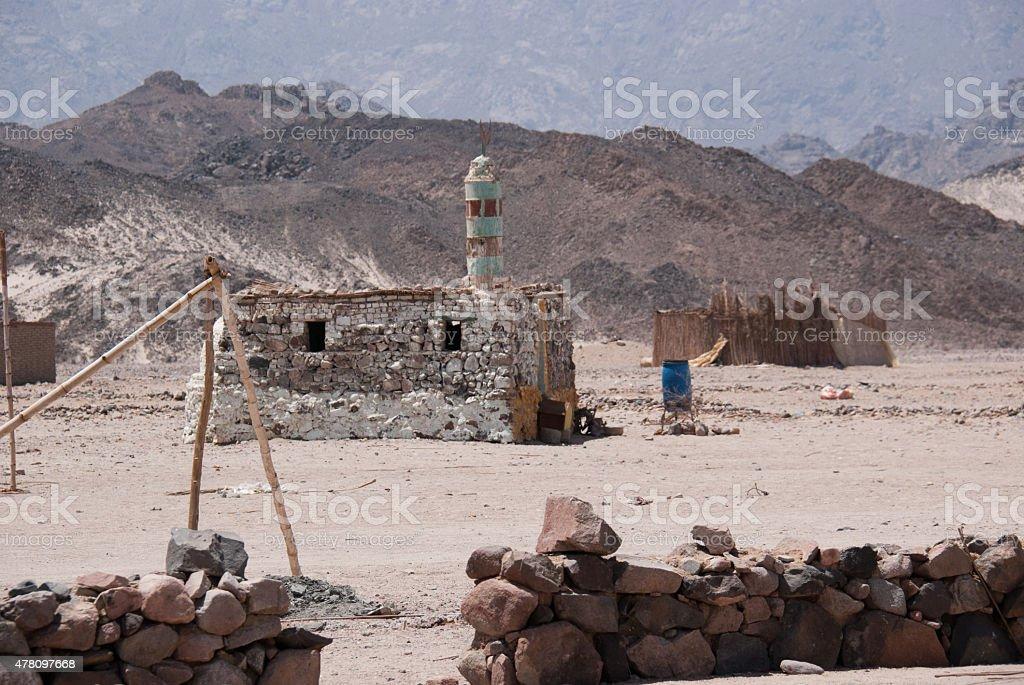 Bedouin Village Mosque, Egypt stock photo
