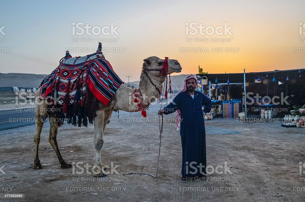 Bedouin with Camel in Israel royalty-free stock photo