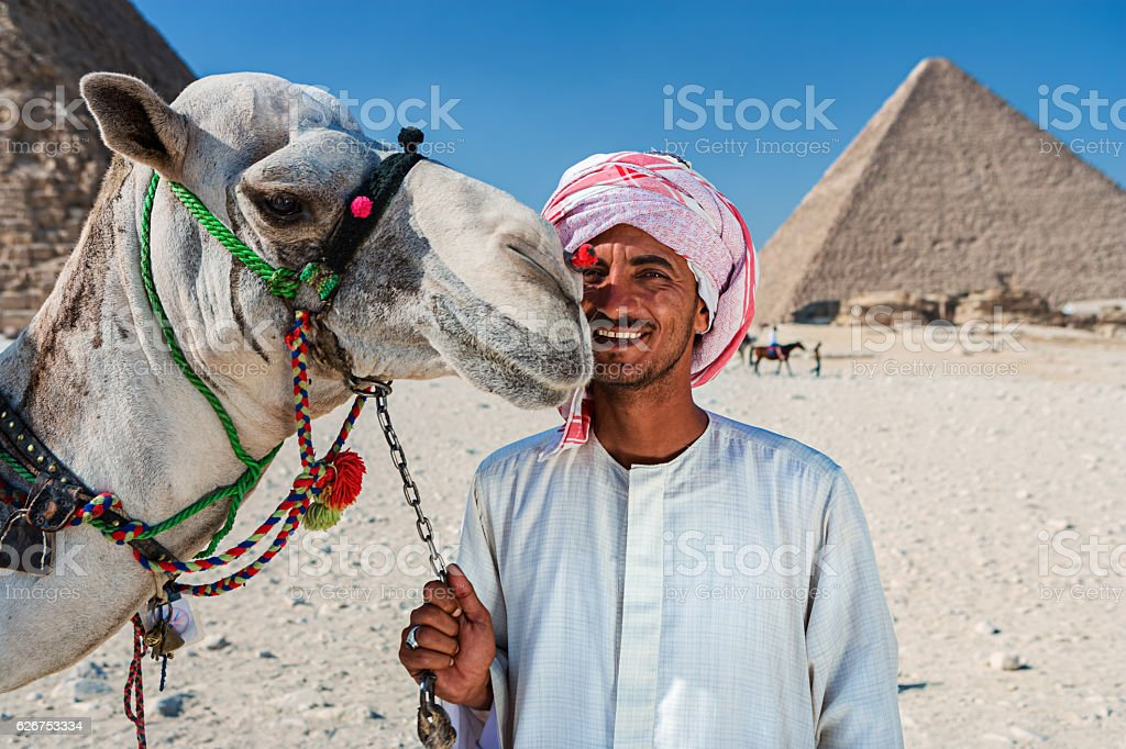 Bedouin with camel stock photo
