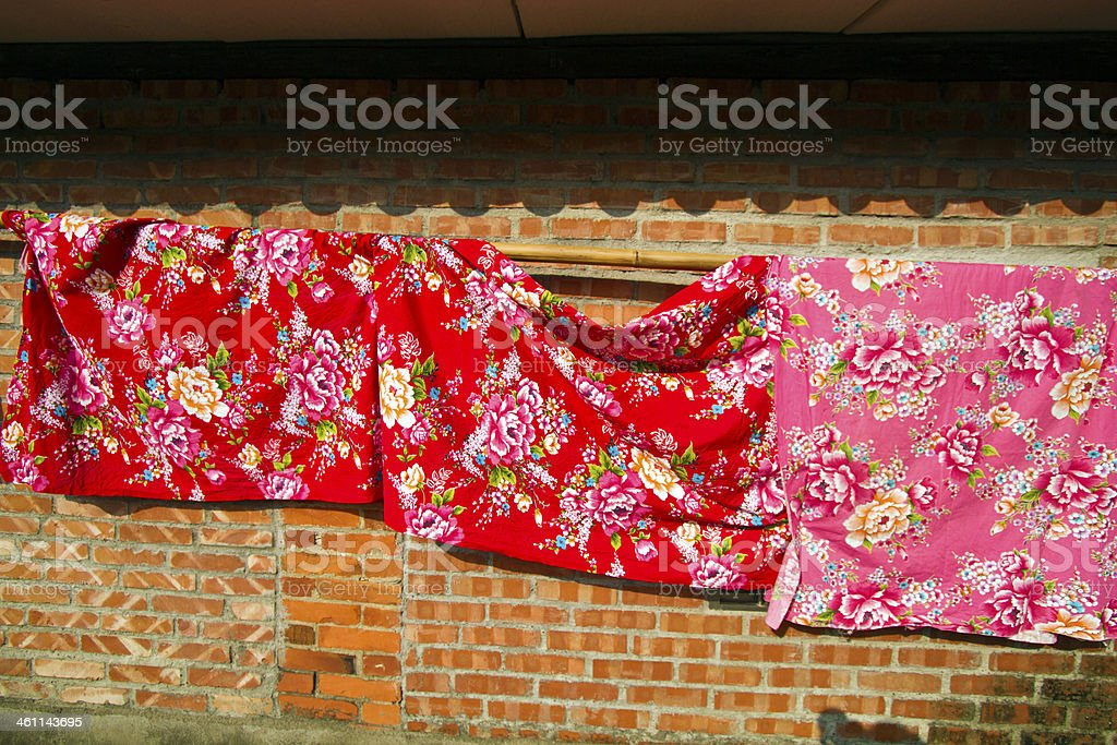 bedquilt Housing in countryside stock photo