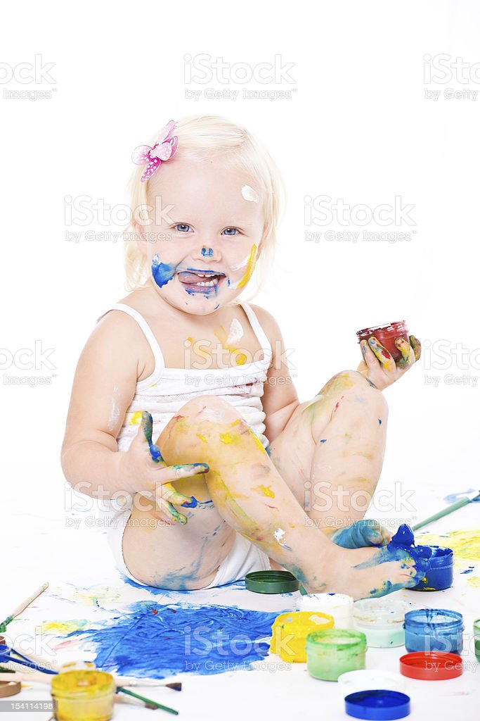 bedraggled little girl with bright colors royalty-free stock photo