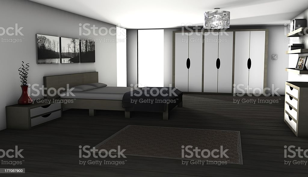 Bedroom - 3D rendered image royalty-free stock photo