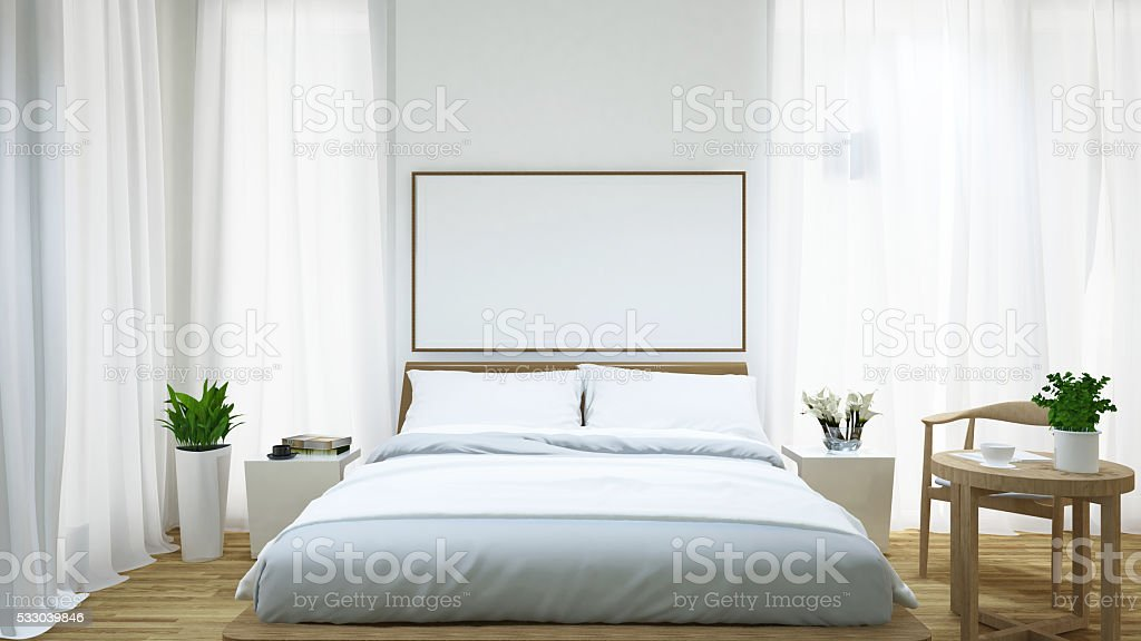 Bedroom and coffee table / 3d rendering stock photo