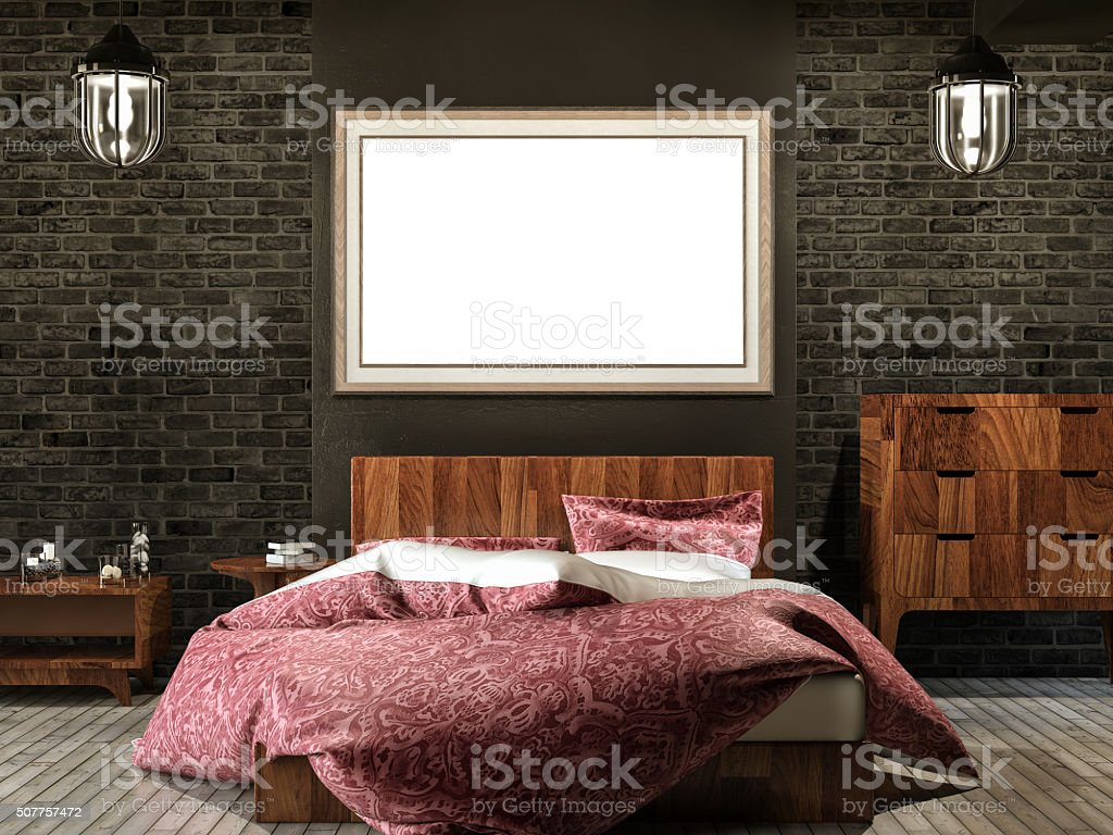 Bedroom and Empty Frame stock photo