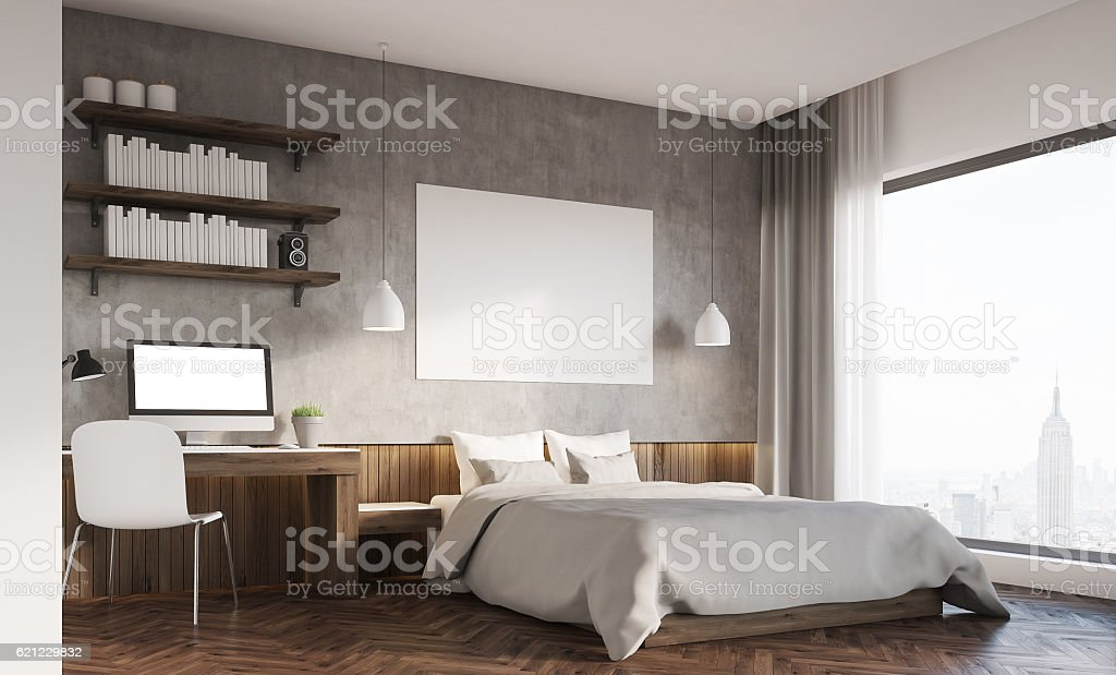 Bedroom and home office stock photo