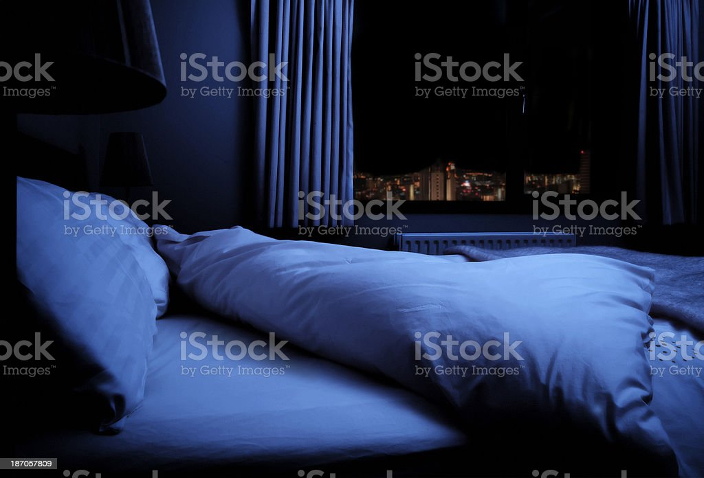 Bedroom at night royalty-free stock photo