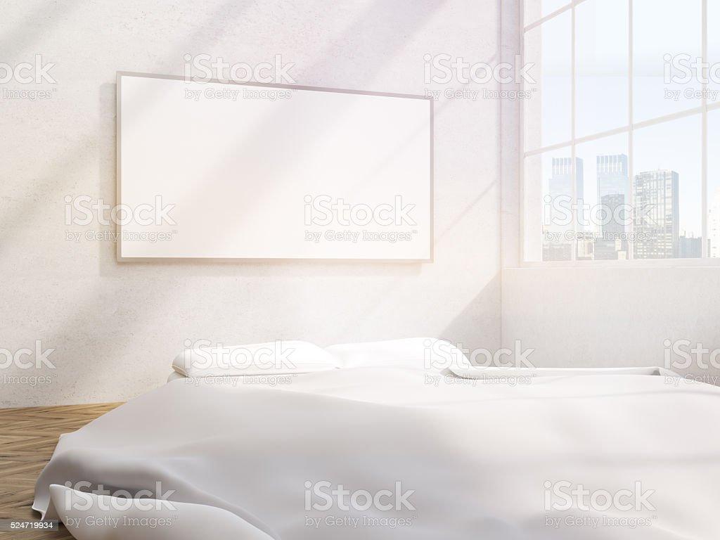 Bedroom blank frame stock photo