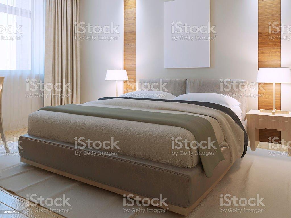 Bedroom contemporary style stock photo