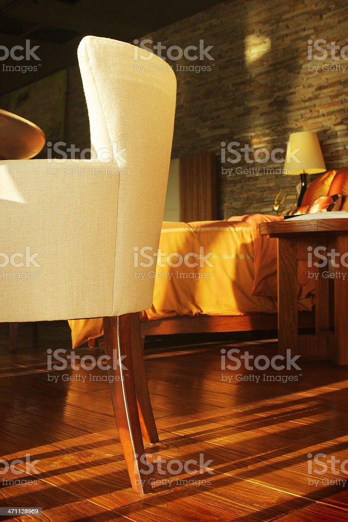 Bedroom Decor Sunlit Modern Home Interior royalty-free stock photo