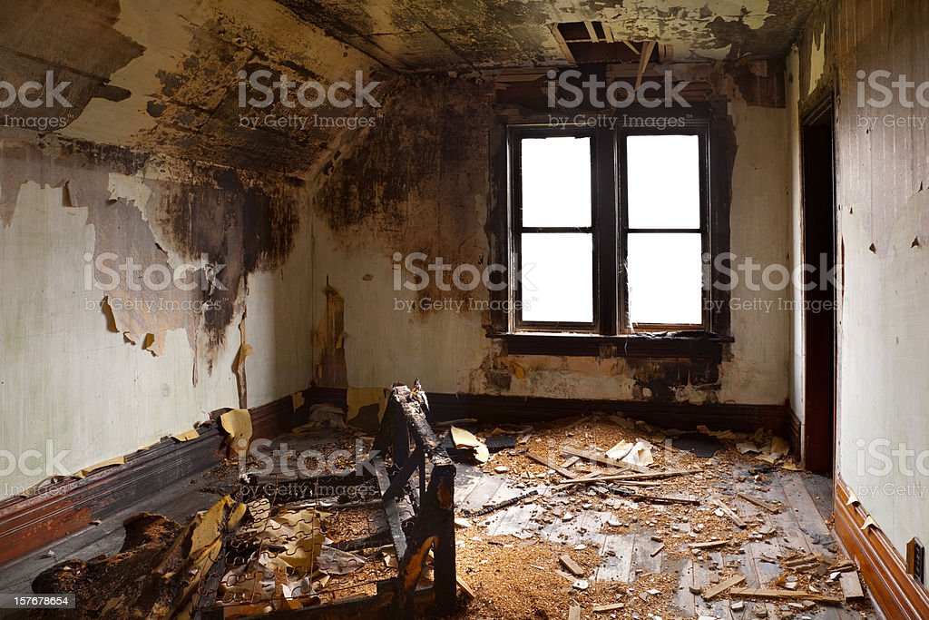 Bedroom Destroyed By Fire stock photo