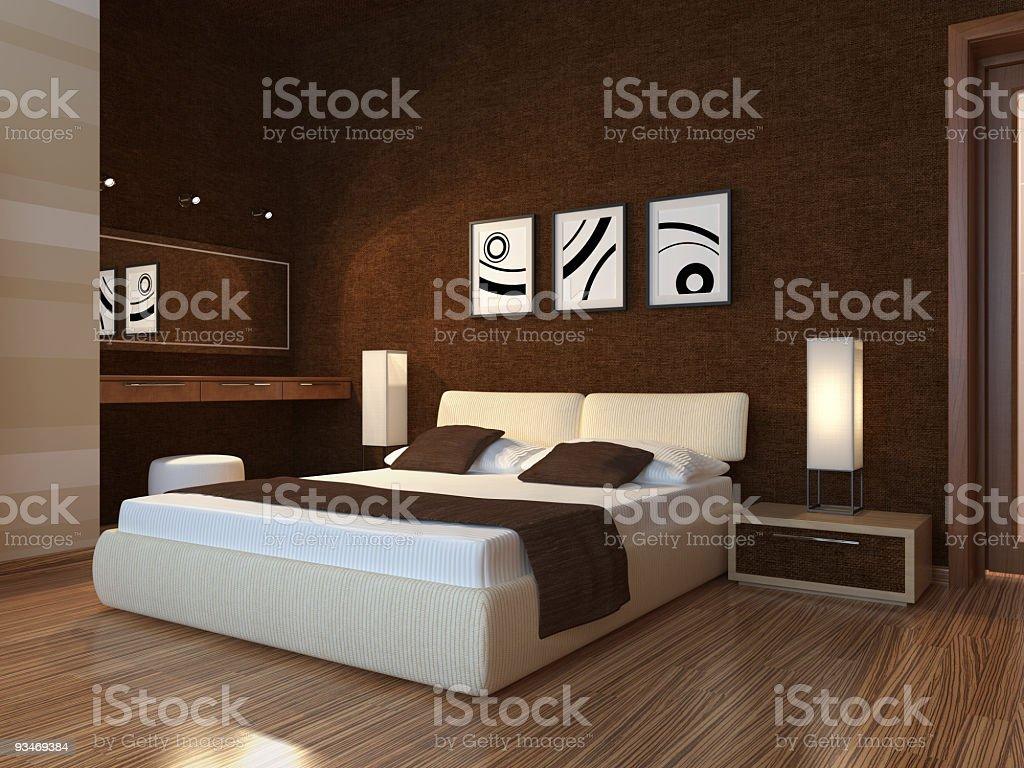 Bedroom evening scene. stock photo