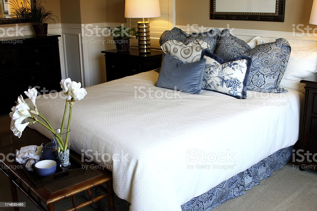 Bedroom in Blue royalty-free stock photo