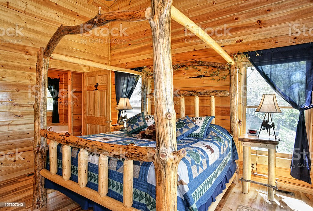 Bedroom in Blue with Four-poster Bed stock photo