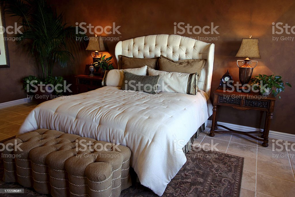 Bedroom in Browns royalty-free stock photo