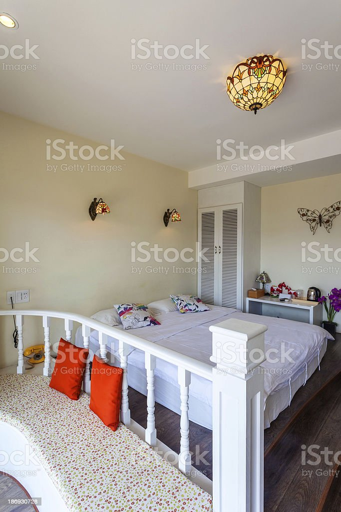 bedroom in hotel royalty-free stock photo