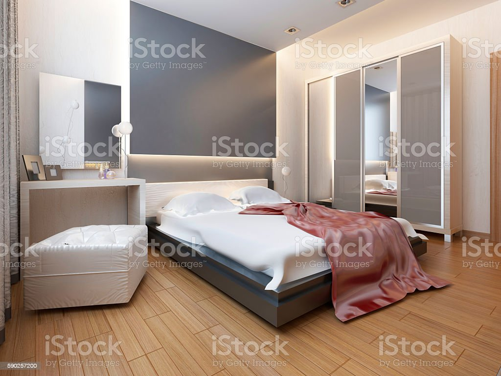 Bedroom in oriental style light with red and yellow flowers. stock photo