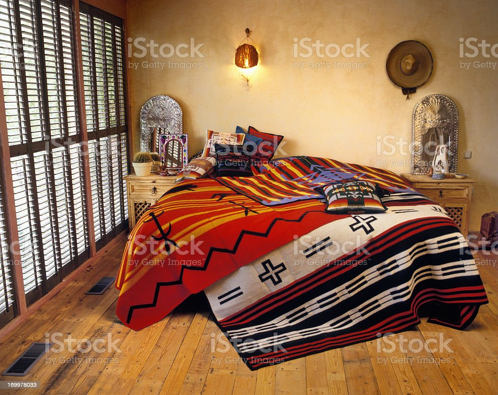 Bedroom in Texas style stock photo