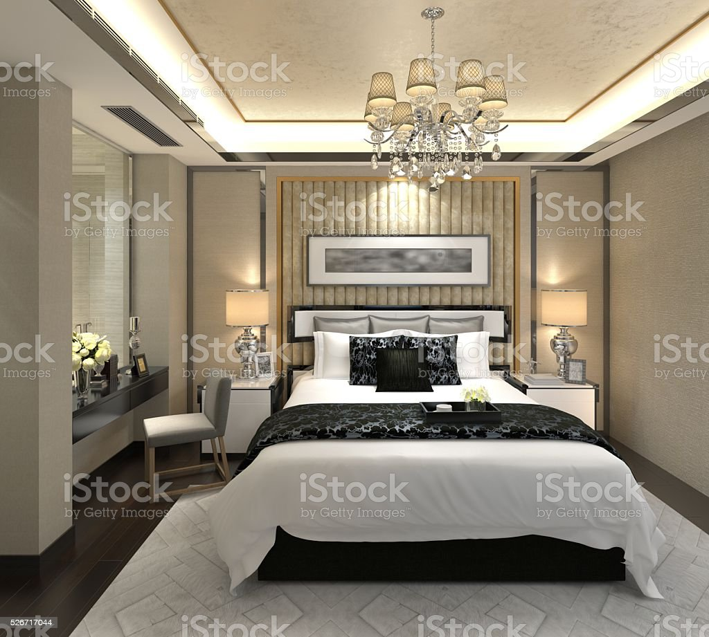 Bedroom Interior 3D Illustration stock photo