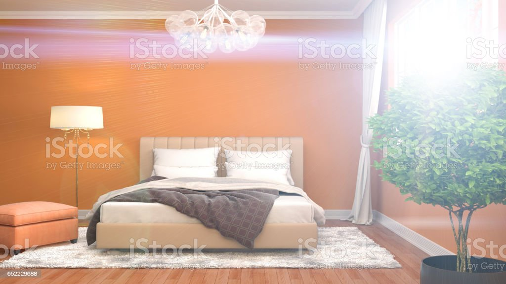 Bedroom interior. 3d illustration stock photo