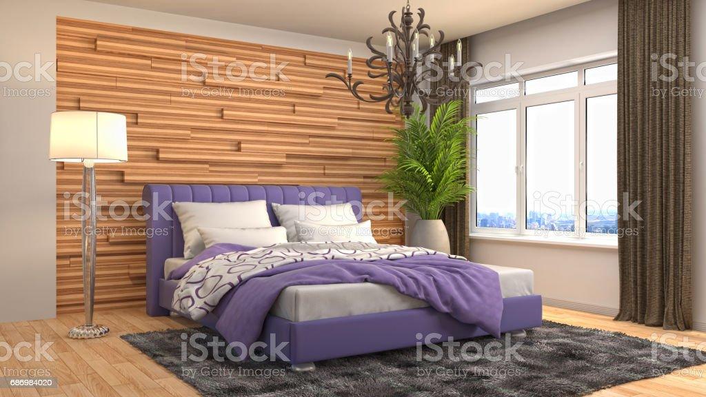 Bedroom interior. 3d illustration stock photo