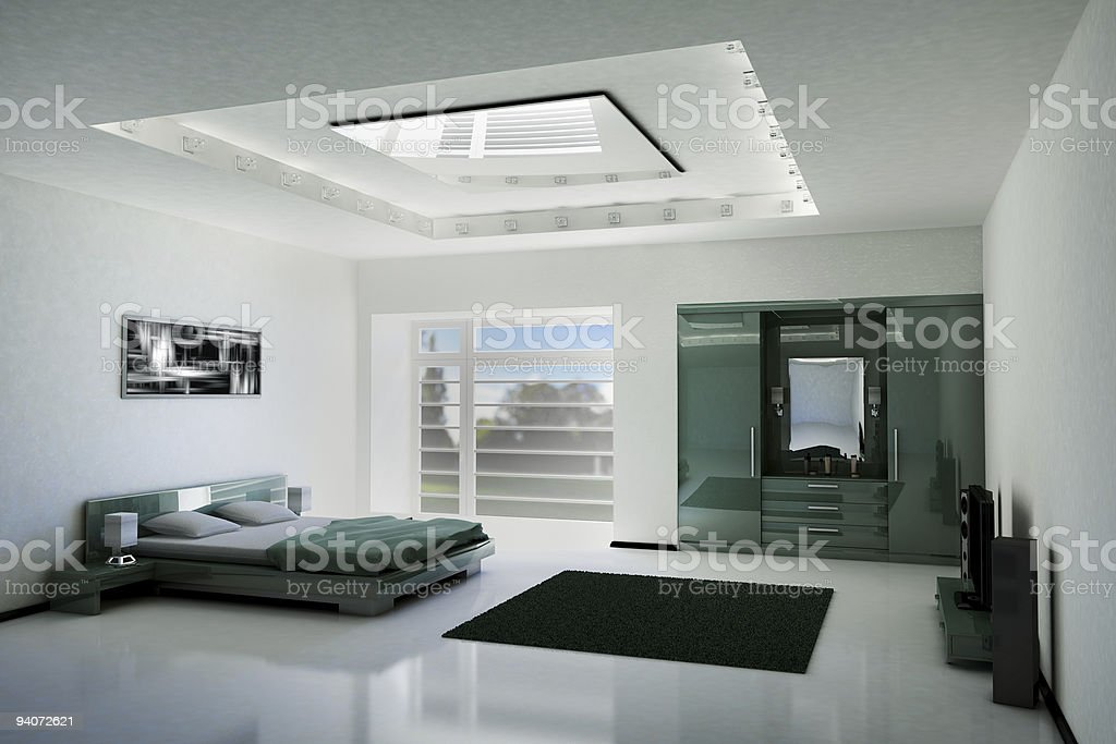 bedroom interior 3d royalty-free stock photo
