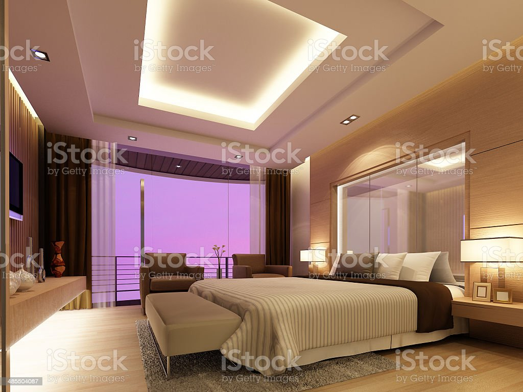 bedroom interior ,3d render vector art illustration
